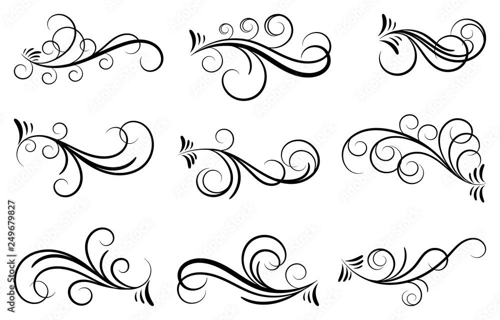 Fototapety, obrazy: Set of curls and scrolls. Decorative divider elements for frames and books. Elegant swirl vector illustration.
