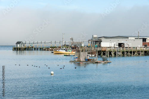 Fotografie, Obraz  Lobster processing facility and fishing boats in Prospect Harbor in northern Mai