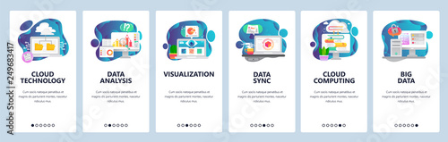 Web site onboarding screens. New technologies, cloud storage, big data analysis, cloud computing. Menu vector banner template for website and mobile app development. Modern design flat illustration.