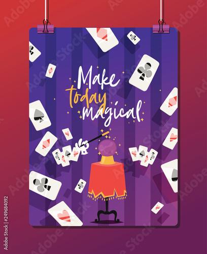 Fényképezés Magician vector illusionist show magic man illusion or magical illusionism and c