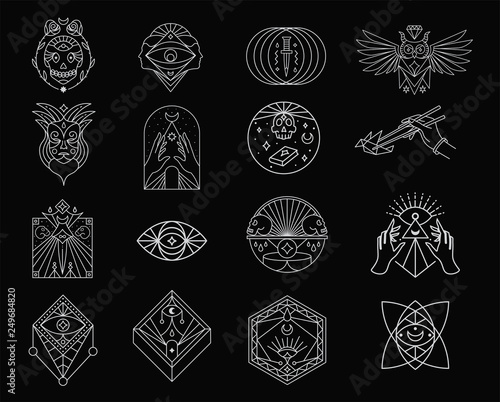 Photo Stands Owls cartoon Mystic Line Stroke Icon Pictogram Symbol Illustration Set Collection