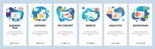 Web Site Onboarding Screens. Financial Report, Business Tools, Analytics. Menu Vector Banner Template For Website And Mobile App Development. Modern Design Flat Illustration.