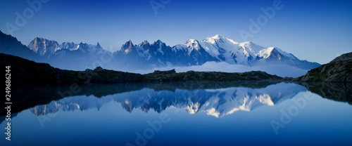 Wall Murals Alps Colorful summer view of the Lac Blanc lake with Mont Blanc (Monte Bianco) on background, Chamonix location. Beautiful outdoor scene in Vallon de Berard Nature Reserve, Graian Alps, France, Europe