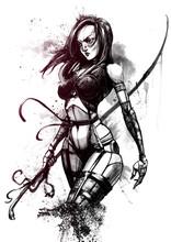 Beautiful Cyborg Girl With Long Sword