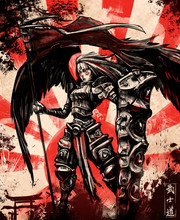 """Angel Warrior With Shield And Flag On Sunset Background, The Inscription In Japanese Means """" The Way Of A Warrior"""""""
