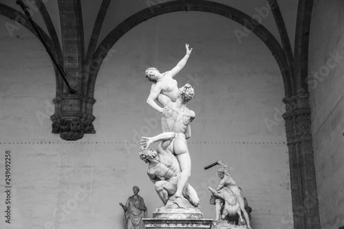 Photo  Sculpture The Rape of Sabine Women, made by sculptor Giambologna