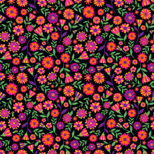 Dia De Los Muertos Seamless Vector Pattern With Marigold Flowers. The Main Symbols Of The Holiday On The Dark Background. Day Of The Dead.