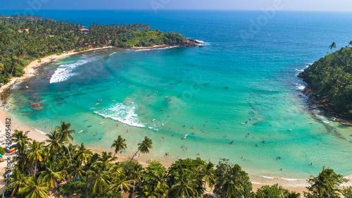 Aerial. Surf beach Hiriketiya, Dikwella, Sri Lanka. Wallpaper Mural