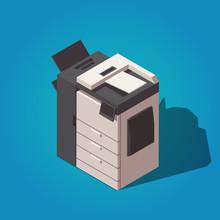 Office Professional Multifunction Printer Scanner Station. Vector Isometric Illustration