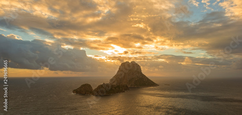 The island of Es Vedra in long exposure at sunset