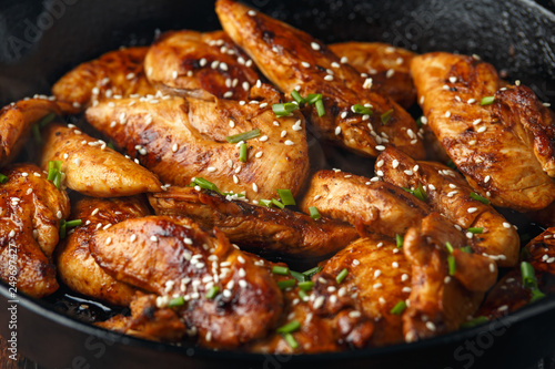 Fototapeta Teriyaki chicken breast mini fillets with sweat chilli dip sauce obraz