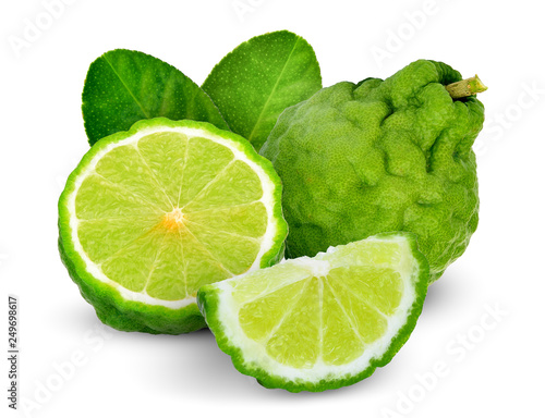 whole and half bergamot with leaf isolated on white background Canvas Print