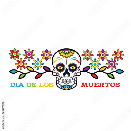 Printed kitchen splashbacks Watercolor skull Dia de los Muertos, Day of the Dead vector illustration. Design for banner or party flyer with sugar skull, flowers and decorative border. - Vector