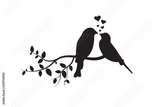 Birds on Branch, Wall Decals, Couple of Birds in Love, Art Decoration, Wall Decor, Birds Silhouette on branch and Hearts Illustrations isolated on white background