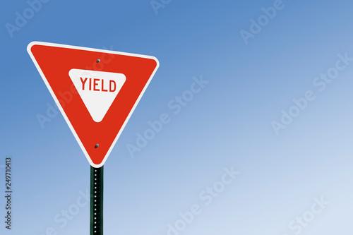 Obraz Yield Sign Against Blue Sky - fototapety do salonu