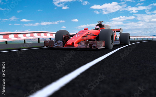 Poster F1 The image of sports car F1 3D illustration