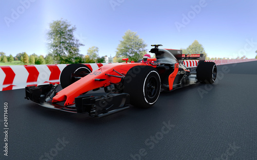 In de dag F1 The image of sports car F1 3D illustration