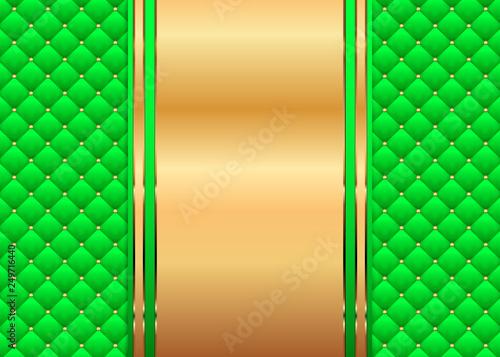 Photo  Gruener Stepphintergrund mit goldener Dekoration und Nieten
