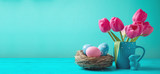 Fototapeta Tulipany - Easter holiday background with tulip flowers, eggs decoration in bird nest and bunny on wooden blue table