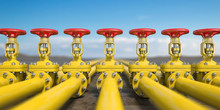 Yellow Gas Pipe Line Valves. O...