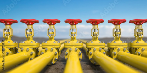 Fotomural Yellow gas pipe line valves