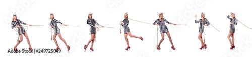 Fotografie, Obraz Woman sailor in tug of war concept