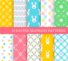 Ten Different Easter Seamless Patterns. Endless Texture For Wallpaper, Fill, Web Page Background, Texture. Colorful Background With Plaid, Waves, Flowers, Leaves, Cute Easter Rabbits And Eggs