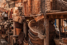 Oriental Bazaar. Exhibits Ancient Times. Wicker Baskets Of Vines And Willow Twigs.