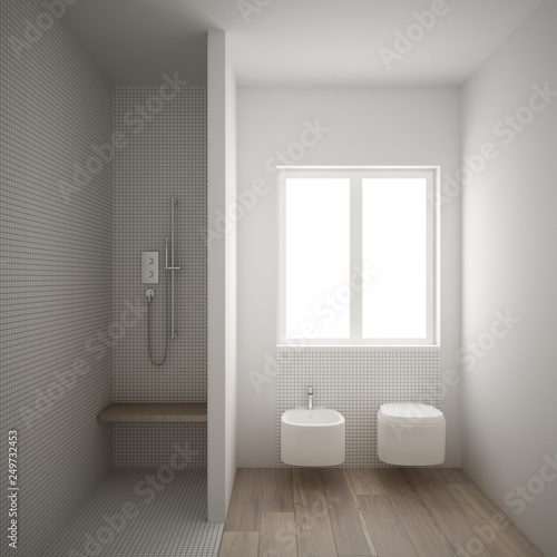 . Modern minimalist bathroom with parquet oak wood floor and white