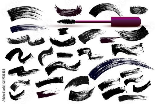 Valokuva  Set of make-up cosmetic mascara brush stroke texture design