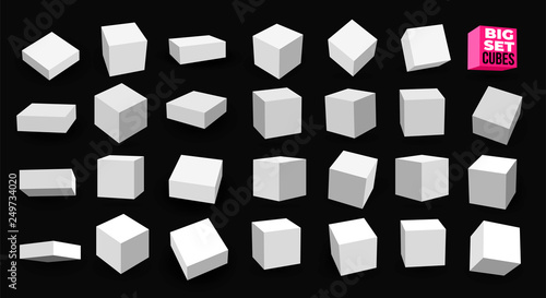 Big Set of white 3D cubes pack isolated on white background Tableau sur Toile