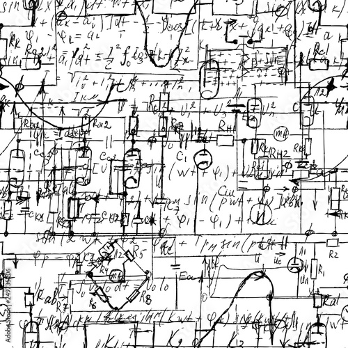 Admirable Scientific Seamless Texture With Handwritten Formulas And Electronic Wiring 101 Orsalhahutechinfo