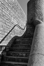 Sweeping Steps And Curved Concrete Wall In Lyme Regis