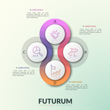 Four Overlapping Translucent Round Elements Placed Around Center With Letters And Thin Line Pictograms Inside. Modern Infographic Design Template. Vector Illustration For Presentation, Brochure.