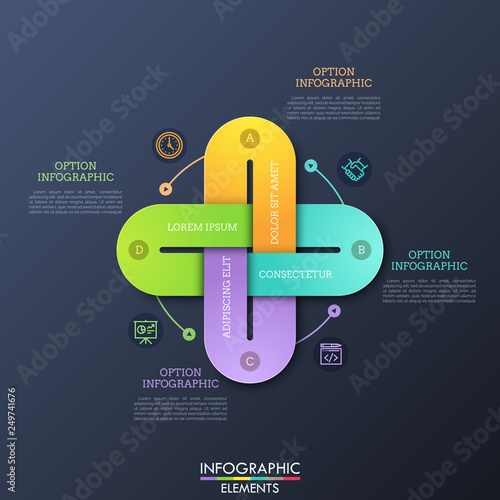 Fototapeta Creative infographic design template with 4 multicolored chain links connected together, thin line icons and text boxes. Four qualities of business project concept. Vector illustration for brochure. obraz