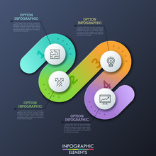 Modern Infographic Design Template In Shape Of Curved Path With 4 Numbered Steps, Thin Line Symbols And Text Boxes. Concept Of Four Obstacles To Successful Business Development. Vector Illustration.