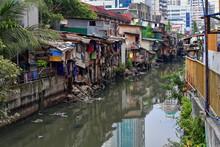 Shack Crowded Banks-Estero De San Lazaro Channel. Binondo Chinatown-Manila-Philippines-1009