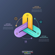 Modern Infographic Design Templates With 3 Colorful Chain Links Connected Together, Thin Line Pictograms And Text Boxes. Three Interdependent Features Of Business Process Concept. Vector Illustration.