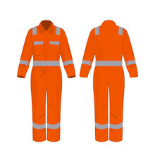 Orange Work Overalls With Safety Band Isolated Vector On The White Background