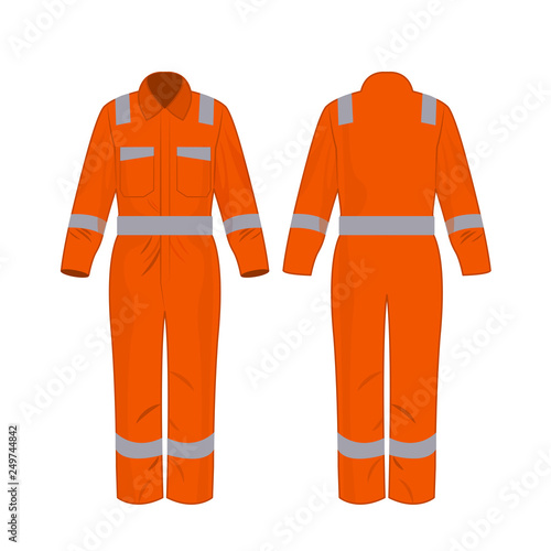 Orange work overalls with safety band isolated vector on the white background Wall mural