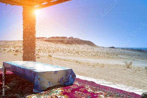 bed under a canopy for relaxing in the shade in the desert Wallpaper Mural