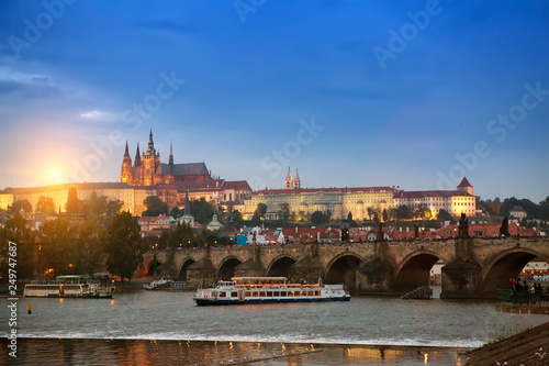 Wall Murals Prague Beautiful Cityscape of Prague with Charles Bridge(Karluv Most) over Vltava river and Prague Castle, Czech Republic