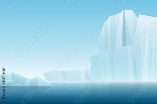 Canvas Print Realistic soft fog arctic iceberg ice mountains with blue sea, winter landscape