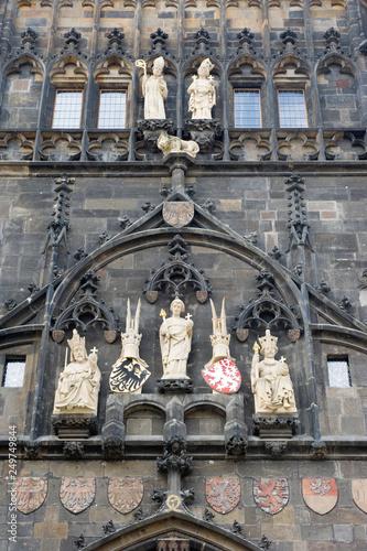 Türaufkleber Phantasie SCulpture sur la façade d'une tour à Prague