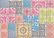 Seamless Patchwork Tile With Victorian Motives. Majolica Pottery Tile, Colored Azulejo, Original Traditional Portuguese And Spain Decor. Trend Illustration For Print Wallpaper, Fabric, Paper And More