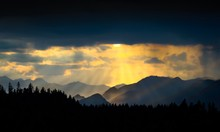 Sunset In Bavarian Alps With M...