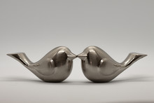 Two Silver Love Bird Figurines...