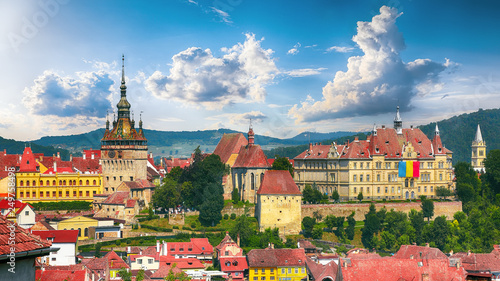 Fényképezés Panoramic view over the cityscape architecture in Sighisoara town