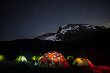 Lighted Tents In The Night In ...