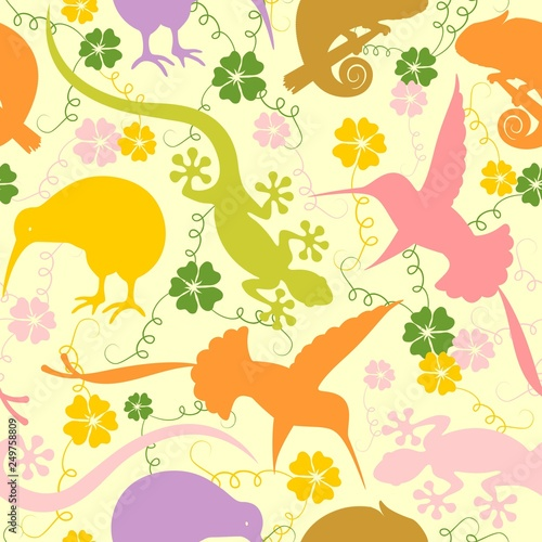 In de dag Draw Exotic Animals Pastel Colors Seamless Pattern Vector Graphic Art
